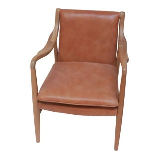 Early 21st Century Handmade Teak and Leather Upholstered Side Chair For Sale