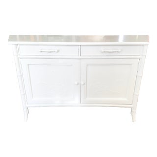 Faux Bamboo Chinoiserie Small Sideboard in Fresh White Lacquer For Sale