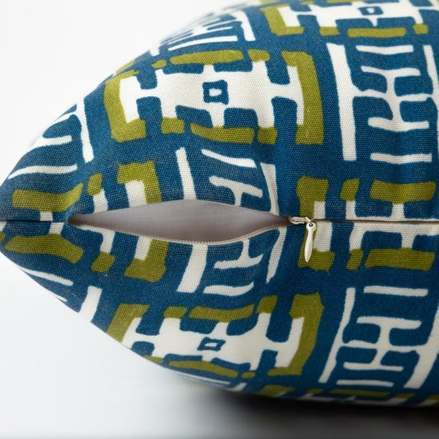 """Ferrick Mason Mr. Rowe outdoor custom green blue knife edge pillow. 22"""" x 22"""" with hidden zipper (see photo). 95/5..."""