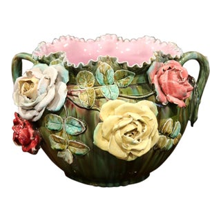 19th Century French Barbotine Cachepot with Hand-Painted Flowers and Leaves For Sale