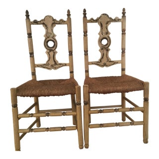 Rush Seat Painted Hall Chairs - A Pair