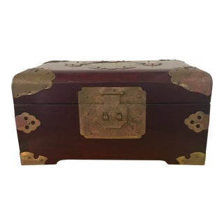 1960s Vintage Chinese Rosewood Jewelry Box For Sale