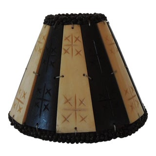 Faux Bone and Palm Small Clip on Bakelite Lamp Shade For Sale