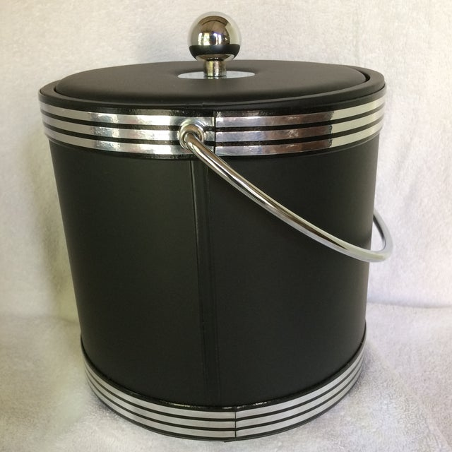 Regency Vintage Black and Chrome Kraftware Ice Bucket & Tongs in Original Box For Sale - Image 3 of 13