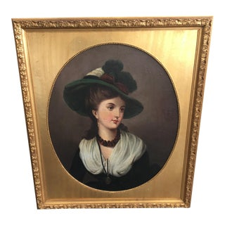 19th Century Portrait of Young Lady by W. Herman For Sale