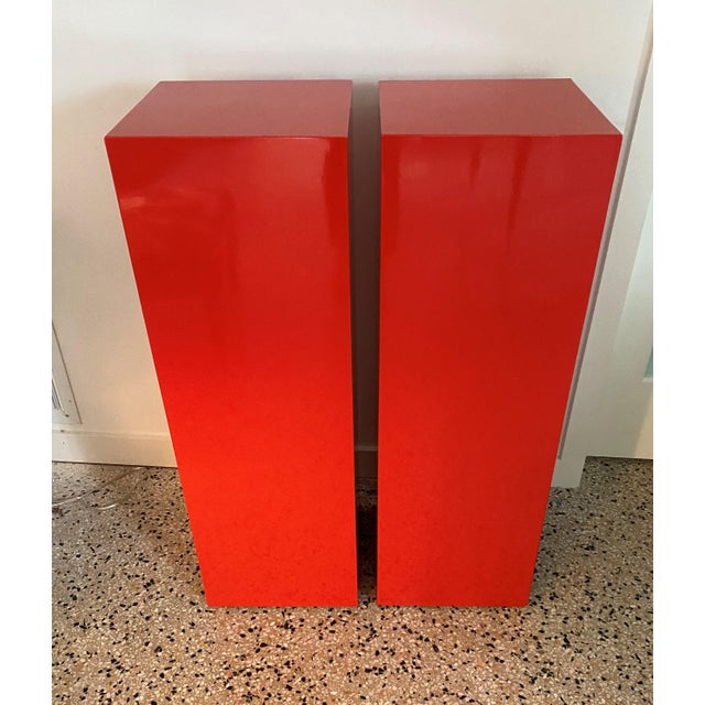 Wood Vintage Minimalist Red Pedestals - a Pair For Sale - Image 7 of 13