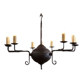 """Custom Hand-Forged Iron """"Mercer"""" Chandelier with Nine Lights For Sale"""