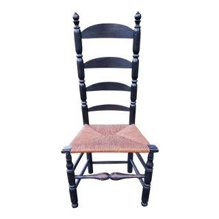 18th Century Early American Colony Ladderback Rush Seat Chair For Sale