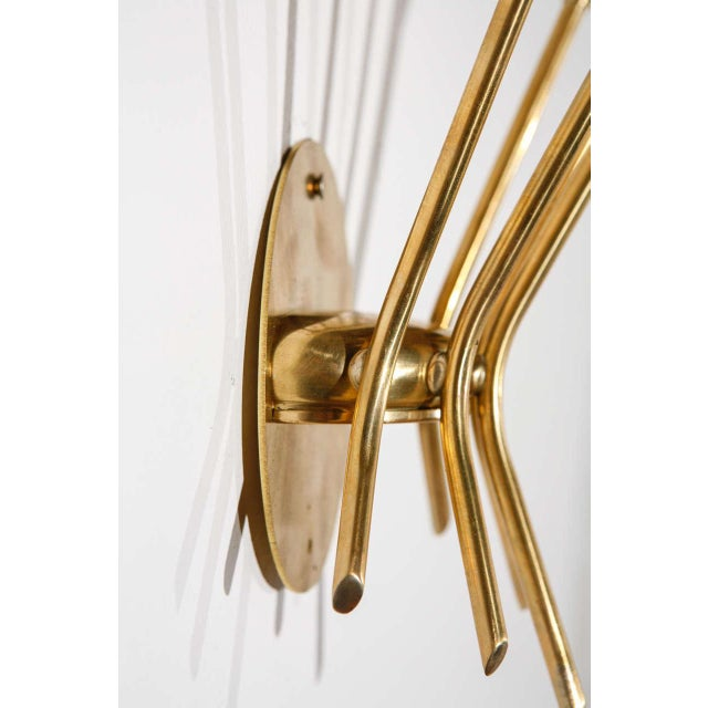 Gold 5 Arm Sconces Attributed to Stilnovo - A Pair For Sale - Image 8 of 10