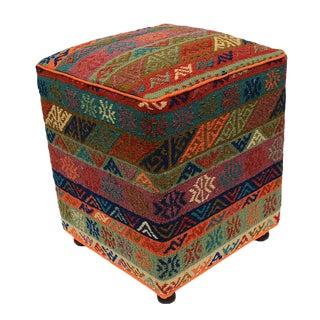Boho Chic Haggerty Orange/Green Handmade Soumakh Upholstered Ottoman For Sale