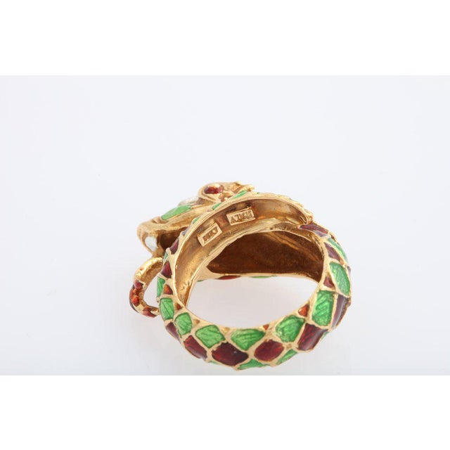 1960s Italian Green and Red Enamel Snake Ring For Sale - Image 5 of 7