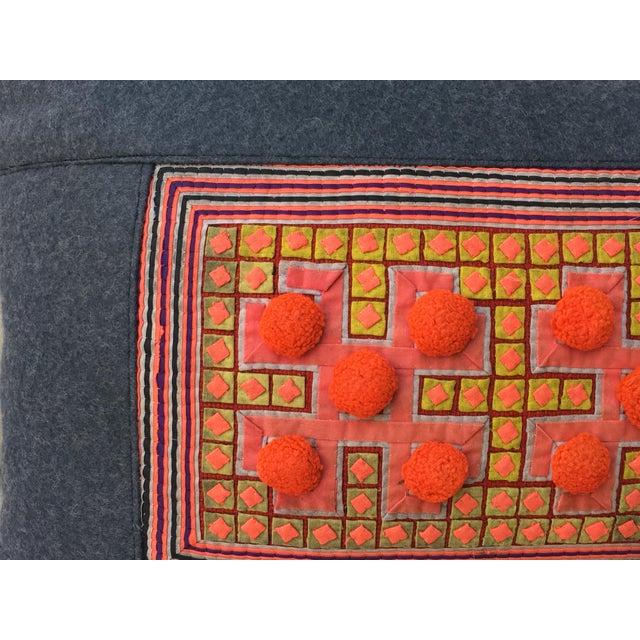 Vivid Applique Hmong Textile Pillow with Pom Poms For Sale - Image 4 of 6