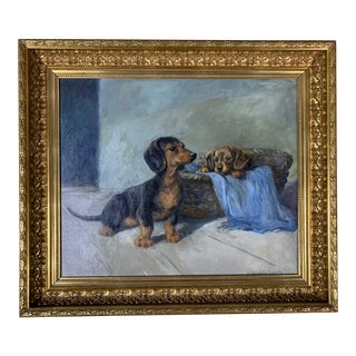 Two Dogs, Eastern European School, Mid-20th Century Painting For Sale