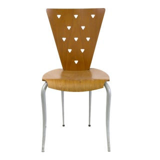 Italian Post Modern Memphis Style Side Chair With Molded Plywood Back & Seat Triangle Motif