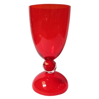 Red Murano Glass Urns by Fabio Ltd For Sale