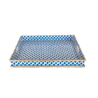Bamboo Serving Tray in Parsi Navy For Sale