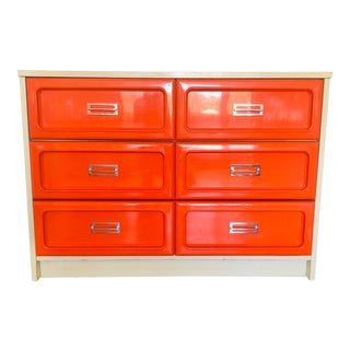 1970s Space Age Pop Modern Burnt Orange Bassett Dresser For Sale