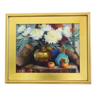 Vintage A. Evans, Floral Tablescape Oil Painting