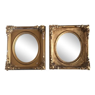 Antique Gilt Gesso Mirrors - A Pair