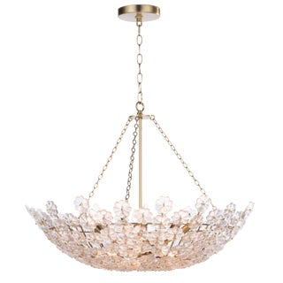 Regina Andrew Modern Boho Chic Brass Finished Glass Flower Charlotte Chandelier For Sale