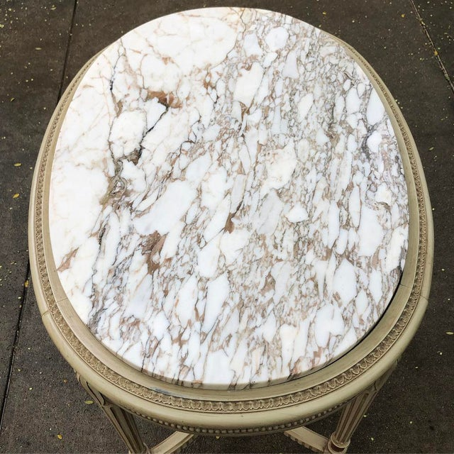 19th Century French Louis XVI Marble Top Oval End Table For Sale - Image 9 of 11