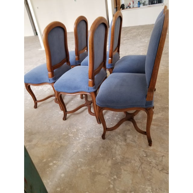 82856578fac1e Beautiful set of six fruit wood dining room chairs with blue upholstery.  These are in