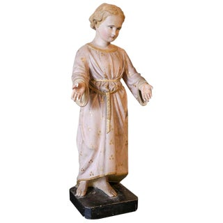 Antique Painted Plaster Statue of Saint John