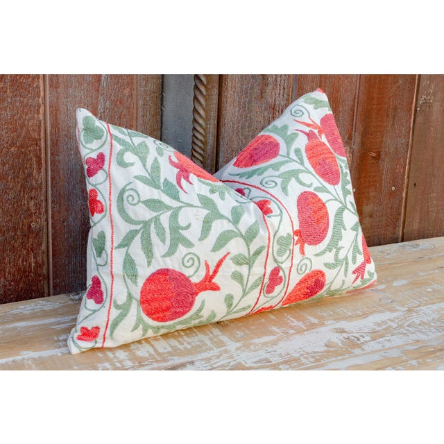 Late 20th Century Pahi Pomegranate & Green Ivy Lumbar Suzani Pillow For Sale - Image 5 of 10