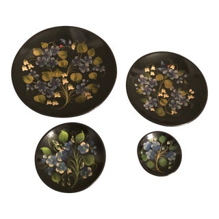 1960s Russian Hand-Painted Wooden Decorative Plates - Set of 4 For Sale