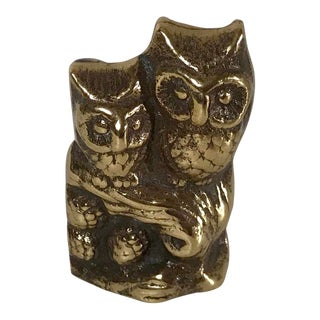 Vintage Brass Owl Figurine For Sale
