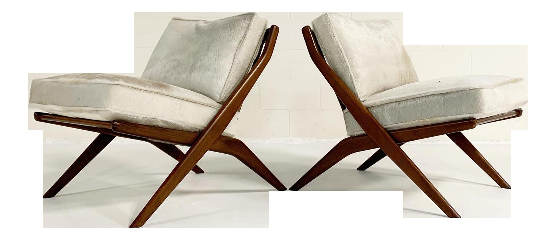 Folke Ohlsson Scissor Chairs With Brazilian Cowhide Cushions Pair