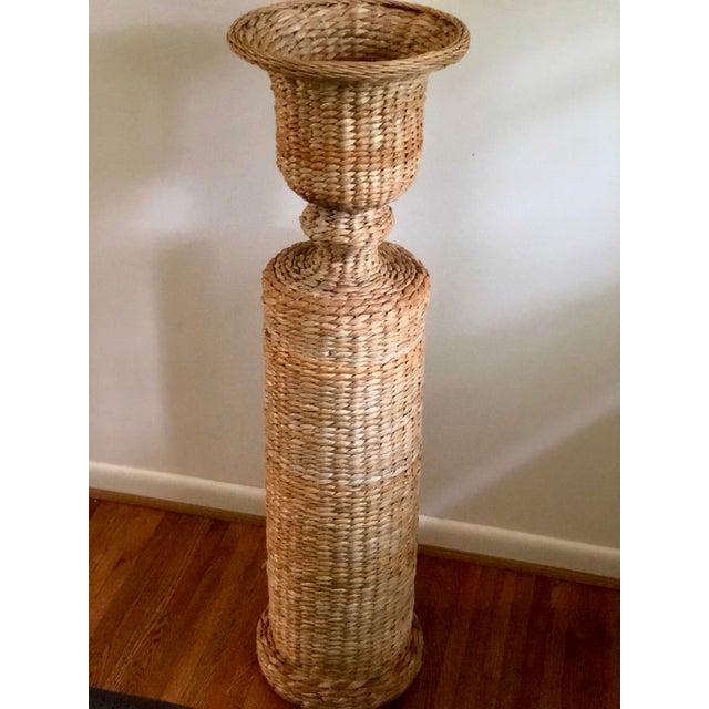 Metal Vintage Rattan Urn Shaped Pedestal Plant Stand For Sale - Image 7 of 9