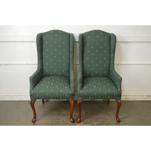 Thomasville Pair of Cherry Queen Anne Host Wing Chairs - Image 6 of 13