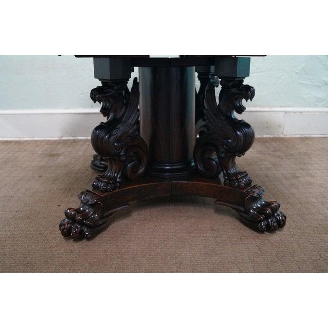 RJ Horner Antique Round Oak Griffin Dining Table - Image 3 of 10