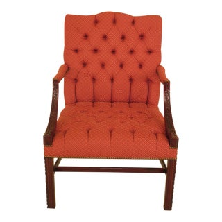 Chippendale Carved Mahogany Open Arm Lolling Chair For Sale
