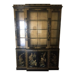 Drexel Heritage Black Lacquer Chinoiserie For Sale