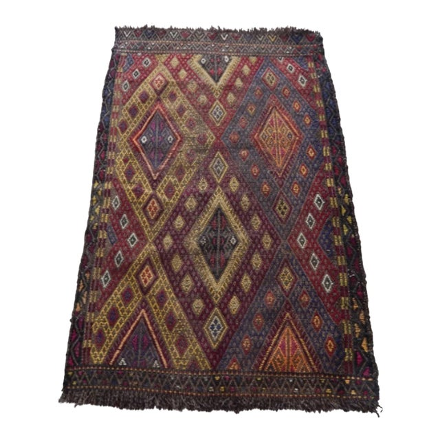Handwoven Anatolian Turkish Oushak Braided Kilim Rug For Sale