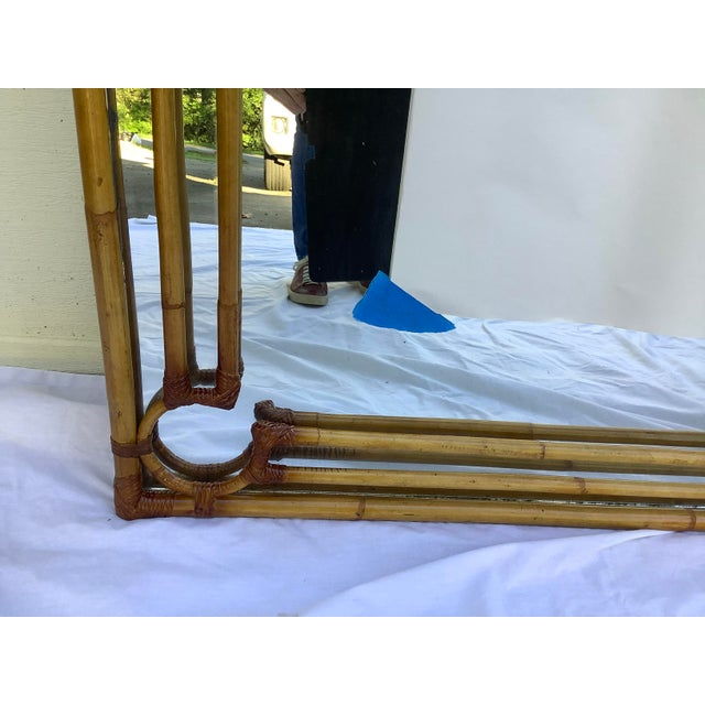 Boho Chic 1970s Rattan & Bamboo Mirror For Sale - Image 3 of 13