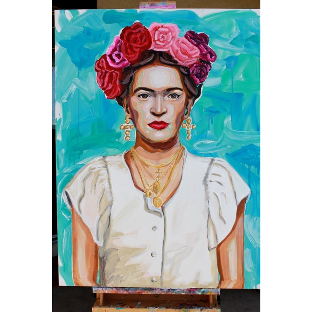 2010s Frida in White Original Large Painting For Sale - Image 5 of 6