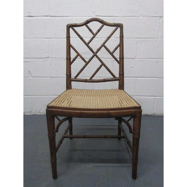 Four Faux Bamboo Chinese Chippendale Style Chairs with cane seats.