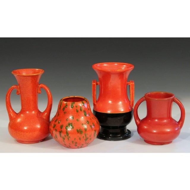 Awaji Pottery Japanese Art Deco Vase Crystalline Chrome Orange Red Glaze For Sale - Image 10 of 11