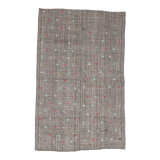 Mid 20th Century Embroidered Gray Vintage Kilim Rug For Sale