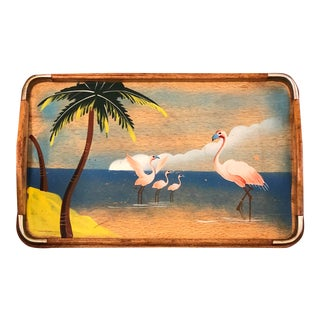 Vintage 1940s Pink Flamingo Hand-Painted Wooden Metal Corners Serving Tray For Sale