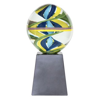 1970s Mid-Century Modern Clear, Blue and Green Murano Glass Ball Sculpture For Sale