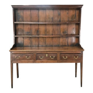 19th Century Large Oak English China Cupboard Sideboard Cabinet For Sale