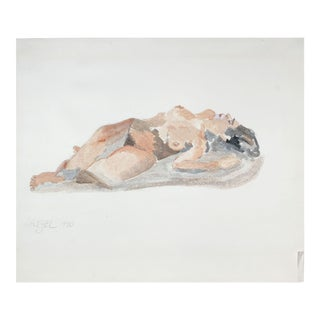 """1980's """"Reclining Woman"""" Figurative Ink Wash For Sale"""