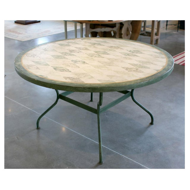 Spanish Round Green Metal Dining Table For Sale - Image 4 of 4