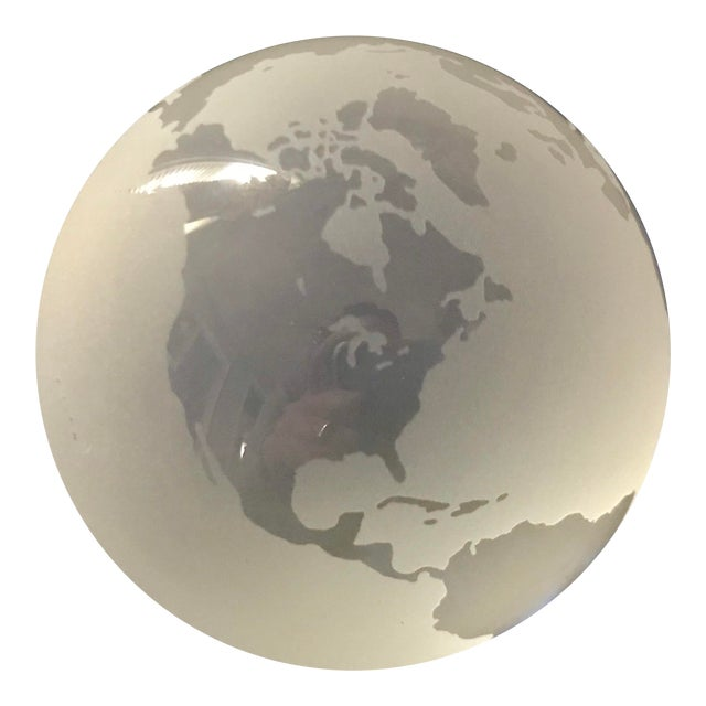 Tiffany & Co Etched Crystal World Globe Paper Weight For Sale