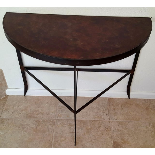 Iron & Acid Washed Copper Console Table - Image 7 of 7