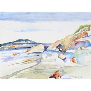 Alysanne McGaffey Marin, Ca Coastal Landscape in Watercolor, Late 20th Century For Sale